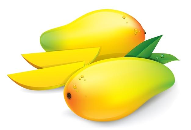 Gelbe mangofrucht getrennt auf weißem hintergrund