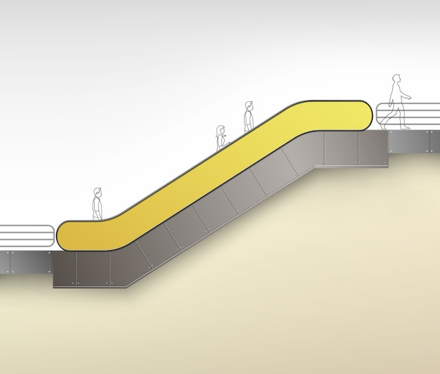 Gelbe moderne rolltreppe mit platz für werbung seitenansicht lokalisiert auf hintergrund