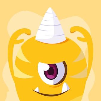 Gelbe monster-cartoon