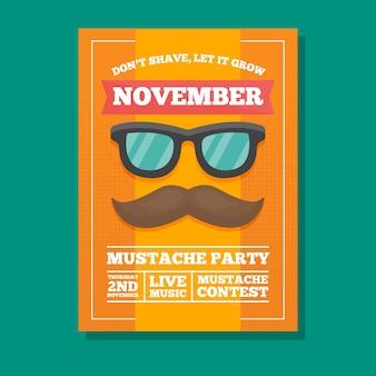 Gelbe movember party-broschüre