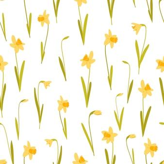 Gelbe narzissen nahtlose muster auf weißem hintergrund vektor-illustration im flachen stil