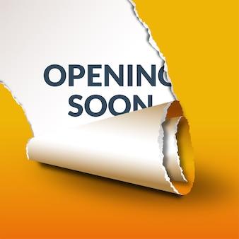 Gelbe öffnung bald vorlage mit zerrissenem papiereffekt