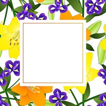 Gelbe orange lilie und blaue iris-blumen-fahnen-karte