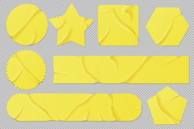 Gelbe papier- oder pvc-aufkleber, klebepatches und bänder