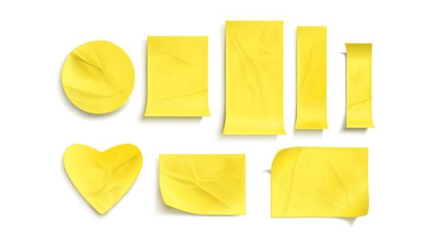 Gelbe papieraufkleber gesetzt
