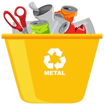 Gelbe papierkörbe mit recycling-symbol auf weißem hintergrund