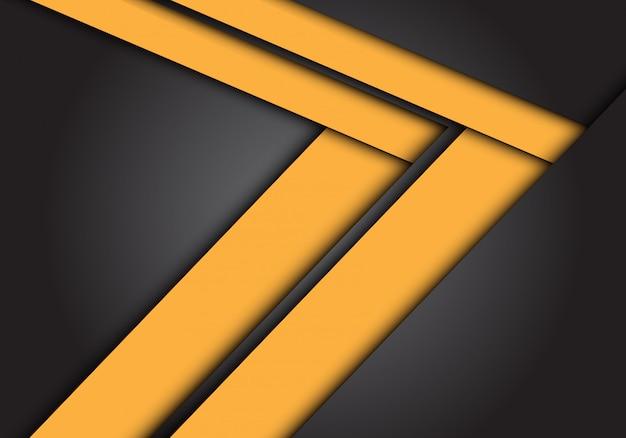 Gelbe pfeilgeschwindigkeitsrichtung auf dunkelgrauen hintergrund.