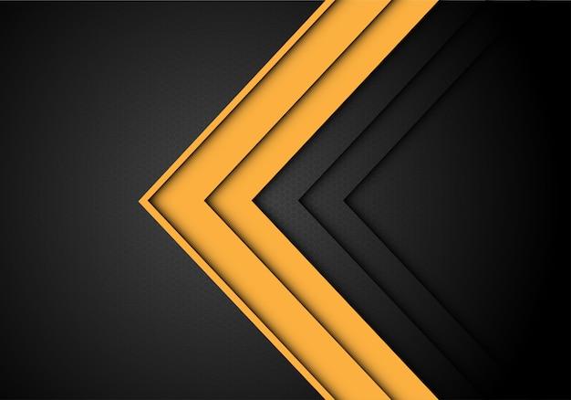 ํ gelbe pfeilrichtung auf grau mit sechseckgeflechthintergrund