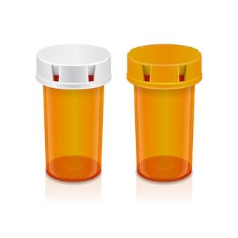 Gelbe pillenflasche auf transparentem hintergrund