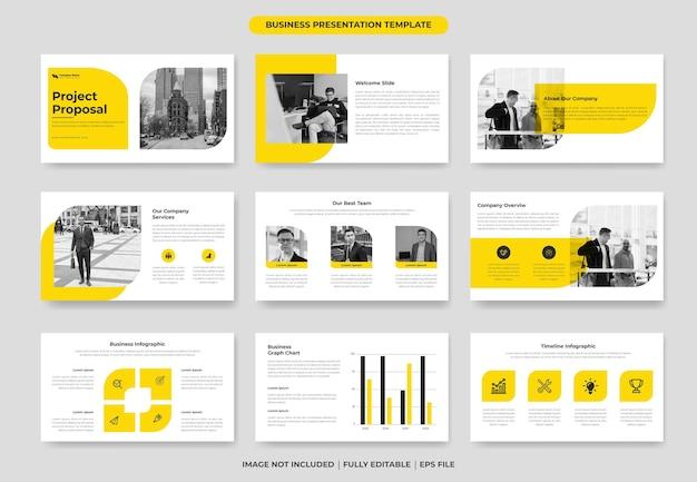 Gelbe präsentationsfolienvorlage für geschäftsprojektvorschläge oder powerpoint-vorlage für den jahresbericht