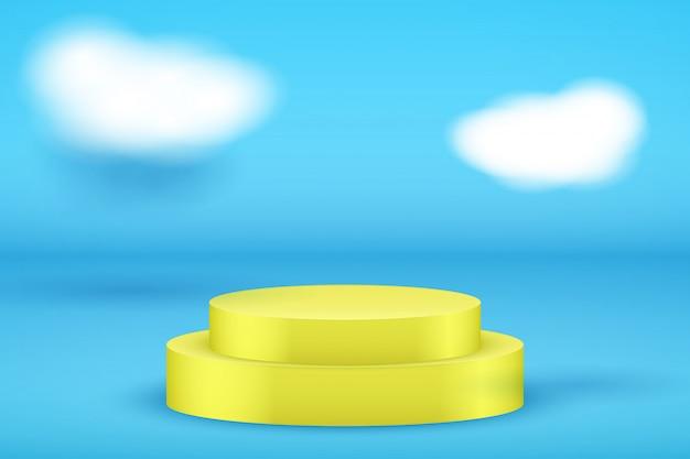 Gelbe präsentationsplattform auf blauem hintergrund