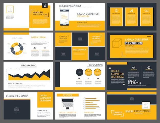 Gelbe präsentationsvorlagen und infografiken