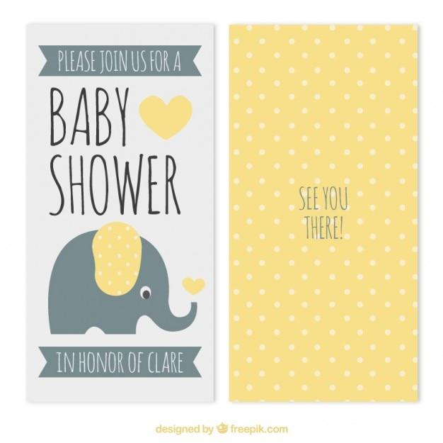 Gelbe punkte baby-dusche-karte