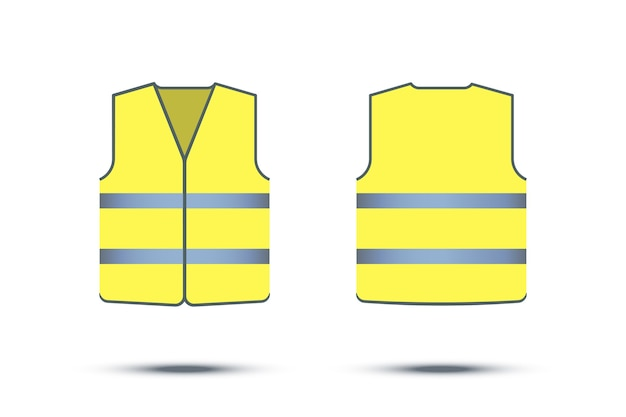 Gelbe reflektierende sicherheitsweste lokalisiert auf weißem hintergrund, vorder- und rückseite