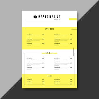 Gelbe restaurantmenüschablone