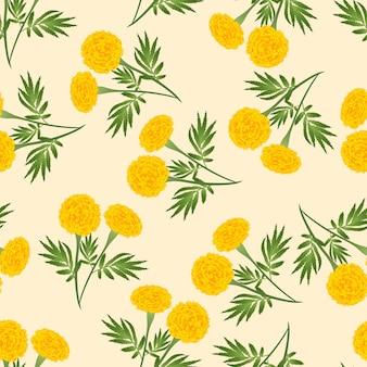 Gelbe ringelblume nahtlos auf beige ivory background