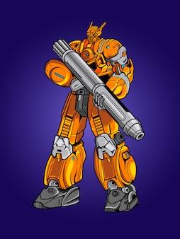 Gelbe robotersoldatillustration