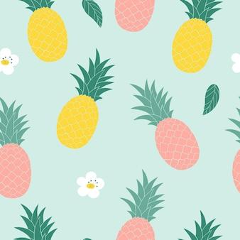 Gelbe rosa ananas auf blauem hintergrund nahtloses muster