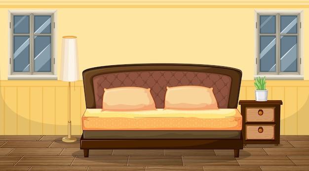 Gelbe schlafzimmereinrichtung mit möbeln