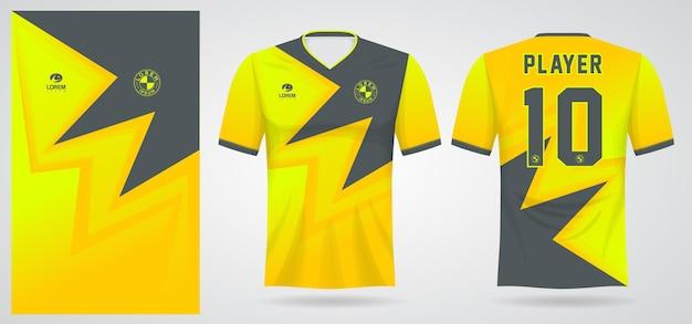 Gelbe schwarze sporttrikotschablone für mannschaftsuniformen und fußball-t-shirt design