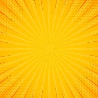 Gelbe seitenluke mit halbtoneffekt. retro- hintergrund der vintagen pop-art. vektor-illustration.