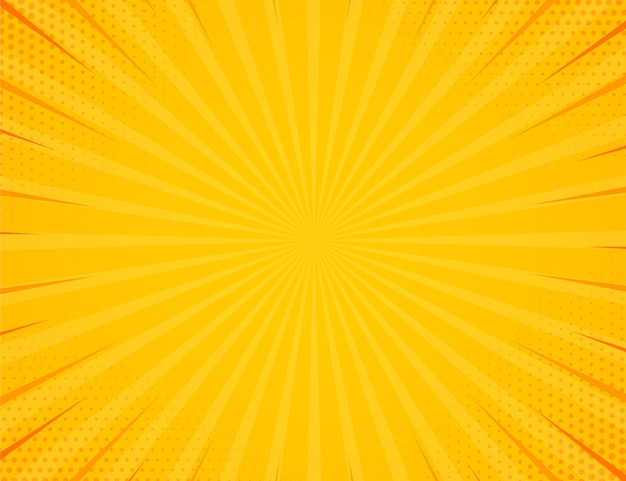 Gelbe seitenluke mit halbtoneffekthintergrund. retro- vektorillustration der weinlesepop-art.