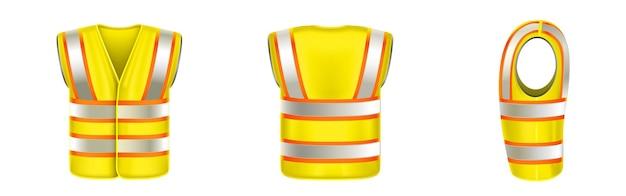 Gelbe sicherheitsweste mit reflektierenden streifen für bauarbeiten