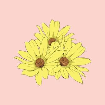 Gelbe sonnenblume in der rosa hintergrundlinienkunst