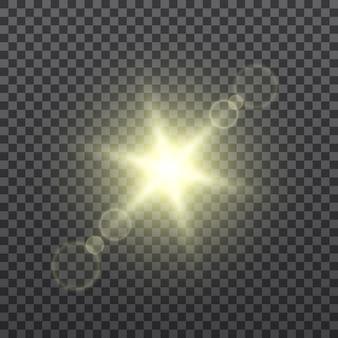 Gelbe sonnenstrahlen auf transparentem hintergrund. linseneffekt. lichteffekt. .