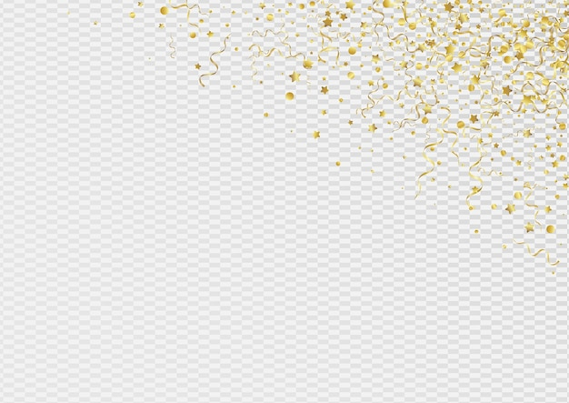 Gelbe spirale feiern transparenten hintergrund. karnevalsband zweig. konfetti-spaß-einladung. goldenes papierplakat.