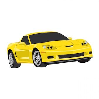 Gelbe sportwagen-vektorillustration lokalisiert auf weißem hintergrund