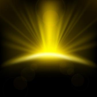Gelbe strahlen, die auf dunklen hintergrund steigen
