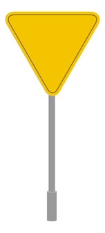 Gelbe straßenschild geometrische form, dreieckige verkehrssymbolkarikatur isolierte ikone