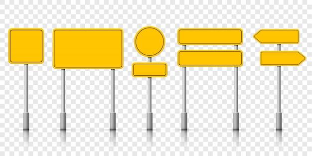 Gelbe straßenschilder. warnhinweis für das straßenschild