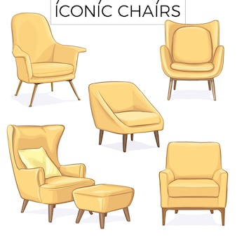 Gelbe stuhlhand gezeichnete illustration
