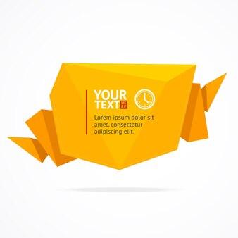 Gelbe text-sprachblase lokalisiert auf einem weißen hintergrund.
