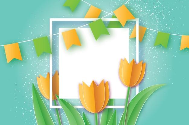 Gelbe tulpen papierschnittblume. origami blumenstrauß. quadratischer rahmen, flaggen und platz für text.