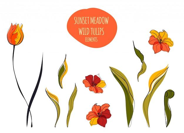 Gelbe tulpenfeldlinienkunstillustration im skandinavischen stil