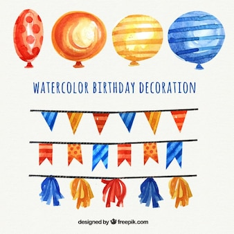 Gelbe und blaue aquarell luftballons und girlanden