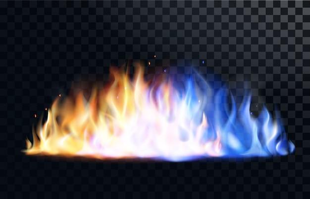 Gelbe und blaue feuerflamme brennt