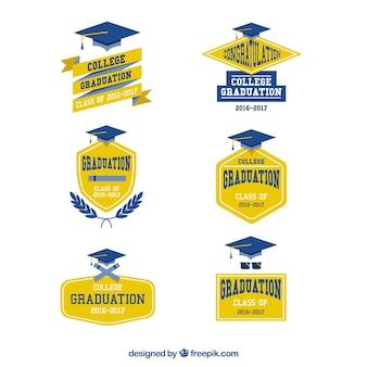 Gelbe und blaue logos für die universität