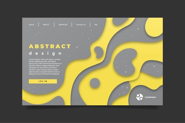 Gelbe und graue abstrakte landingpage-vorlage