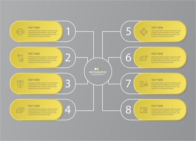 Gelbe und graue farben für infografik mit dünner linie