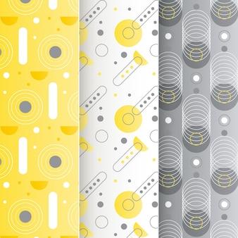 Gelbe und graue geometrische mustersammlung
