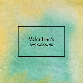 Gelbe und grüne abstrakte valentinstag-aquarell-zusammenfassung