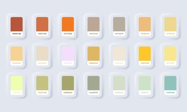 Gelbe und grüne pastellfarbpalette. katalogproben gelb und grün in rgb hex. farbkatalog. neumorphic ui ux weiße benutzeroberfläche web-schaltfläche. neumorphismus.