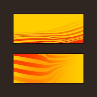 Gelbe und orange abstrakte fahnenvektoren