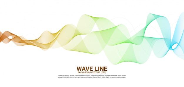 Gelbe und orange schallwellenlinie kurve auf weißem hintergrund.
