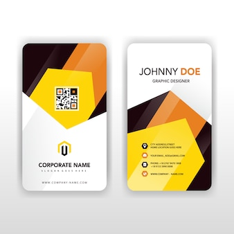 Gelbe und orange vertikale visitenkarte