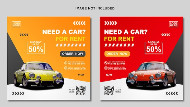 Gelbe und rote social media autovermietung banner vorlage